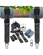 Outdoor Delight Tree Swing Straps Hanging Kit Extra Long 10ft with Tree Protectors & Protective Sleeves (Set of 2) - Heavy-Duty Screw Lock Carabiners - Bonus Swivel - Picture Instructions - Carry Bag