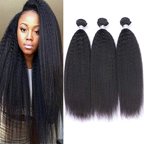 - IMAYLI 8A Brazilian Kinky Straight Human Hair 3 Bundles(16 18 20 Total 300g) Yaki Human Hair Bundles 100% Unprocessed Brazilian Virgin Remy Human Hair Weave Extensions Natural Black