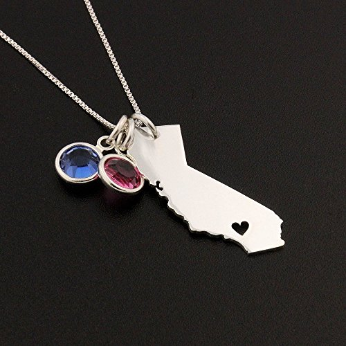 Any states Personalized State Necklace With Heart & Birthstone Choose your state and heart location and birthstone gem Charm - Best friend hometown jewelry , birthday gift - - Hawaii Gem State
