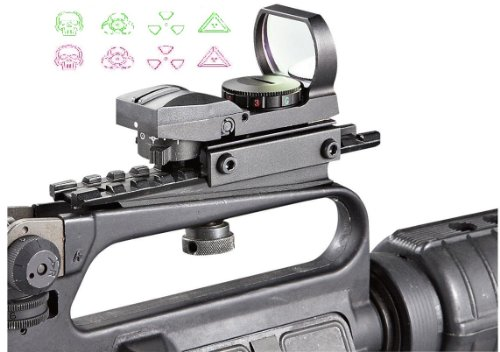 Ultimate Arms Gear Tactical CQB 4 Reticle Warfare Edition Dual Red / Green Open Reflex Sight With See Thru AR15 AR-15 M4 M-4 M16 M-16 Rifle Carry Handle Weaver-Picatinny Rail Adapter Scope Mount