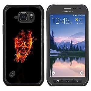 "Be-Star Único Patrón Plástico Duro Fundas Cover Cubre Hard Case Cover Para Samsung Galaxy S6 active / SM-G890 (NOT S6) ( Fuego Cara Stuntman corazón Llamas Negro"" )"