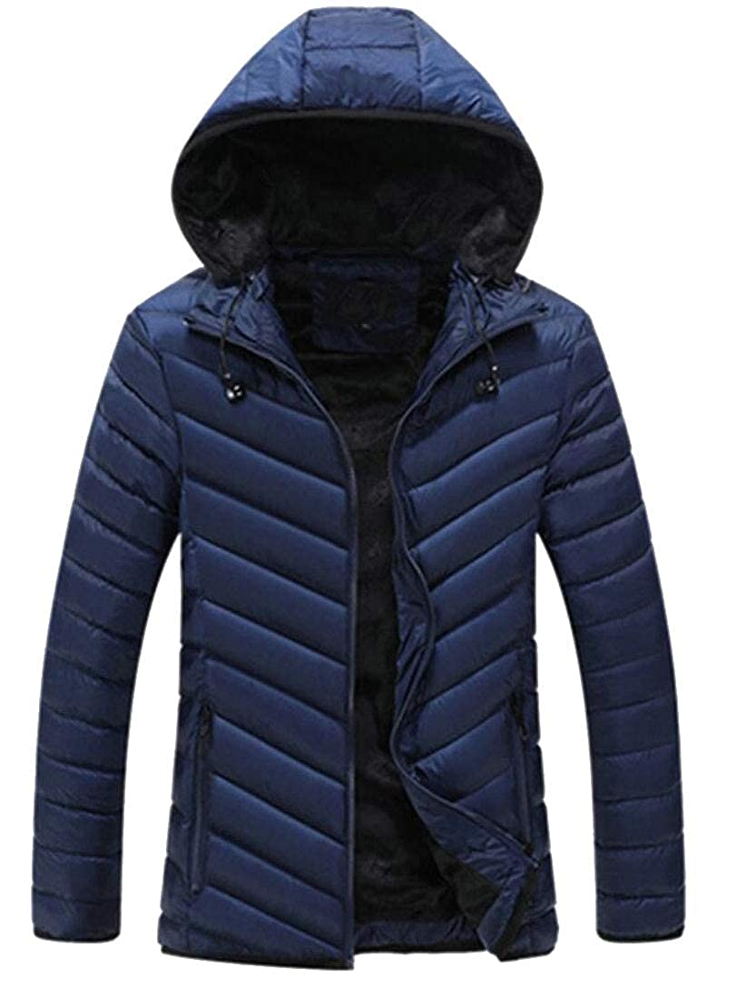 Keaac Men Hooded Warm Thicken Quilted Fleece Lined Down Jacket