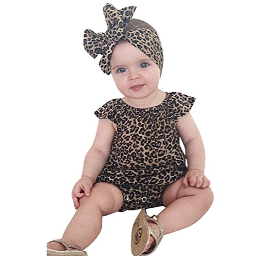 TIFENNY Newest Baby Boy Girl Leopard Outfit Romper Jumpsuit Headband Clothes Set (9M) Black ()