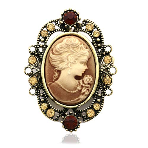 Soulbreezecollection Brown Cameo Brooch Pin Charm Women Fashion Jewelry Necklace Pendant Compatible