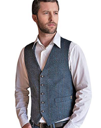 (Mucros Men's Irish Tweed Vest Navy Herringbone Wool Full Back Made in Ireland Large)