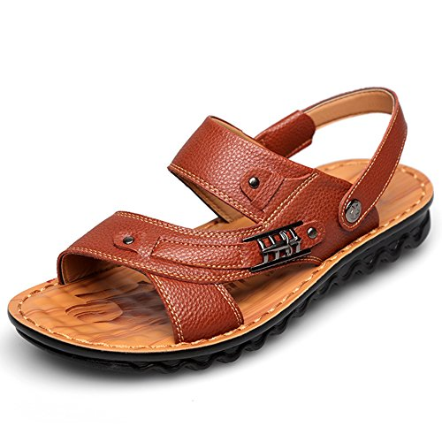 Mobnau Mens Fashion Casual Walking Leather Sandals Brown