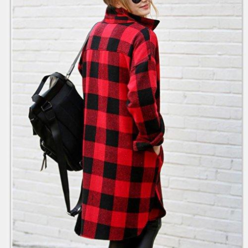 T a Risvolto Rossa Quadri Moda Elegante Donna Top Boyfriend e Camicia Maglietta Tasca Maglia a Pipistrello Cardigan shirt Casual Cotone Nera Lunga Blusa Manica Tunica q65TE