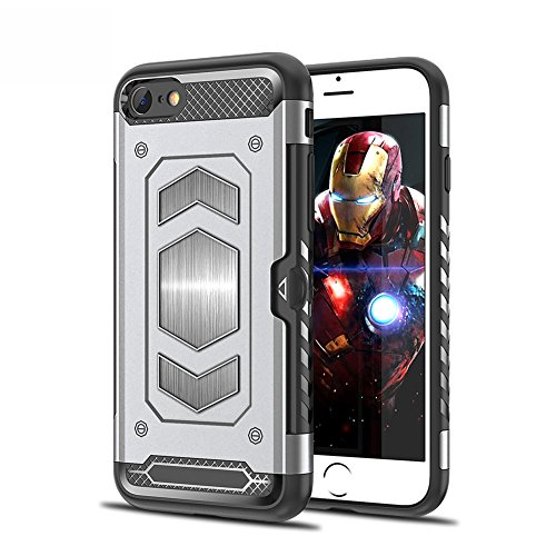 iPhone 7/8 Case iPhone 7 Plus/8 Plus Case Magnetic Dual Layer Wallet Card Slot Kick-Stand Armor Series Hybrid Case with Card Slot Slide&Magnetic Car Mount (iPhone 7 Plus, Silver) - Kickstand Wrap Case