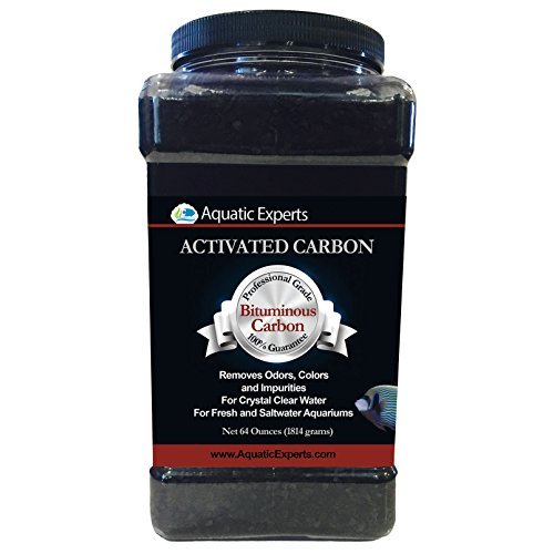 Classic Activated Carbon Aquarium Charcoal Filter Media - Remove Odors and Discoloration with Bituminous coal 64 oz filter by Aquatic Experts USA Diamond Blend Activated Carbon