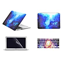 """Unik Case-4 in 1 13 Inch Galaxy Graphic Rubberized Hard Case,Screen Portector,Sleeve Bag & Silicone Skin for Macbook 13"""" Air A1369/A1466 Shell Cover-Blue"""