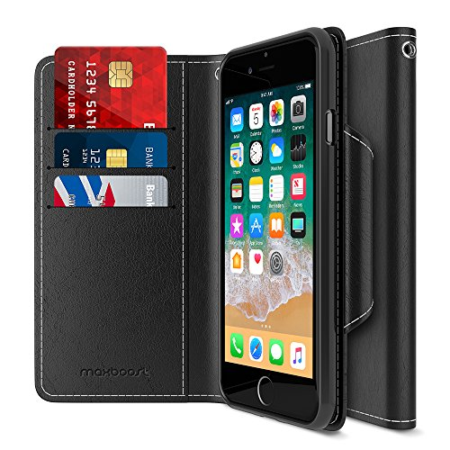 Price comparison product image Maxboost iPhone 8 Wallet Case [Folio Style] [Stand Feature] mWallet Series Apple iPhone 8 (2017)/ iPhone 7 (2016) [Black] Protective Credit Card Leather Cover [Card Slot+Side Pocket] Magnetic Closure
