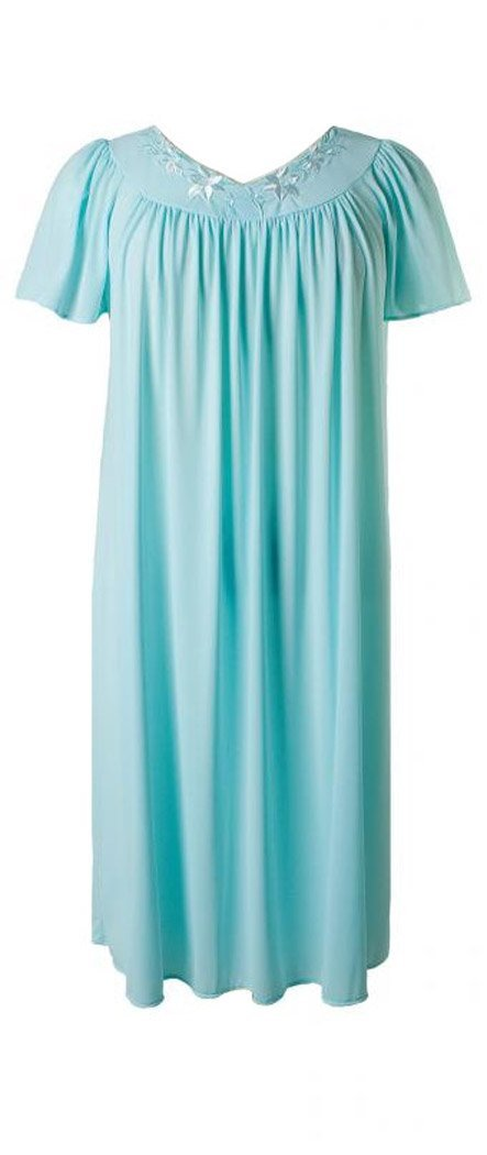 New Miss Elaine Seafoam/Pink 100% Nylon Short Gown & Robe Set-L