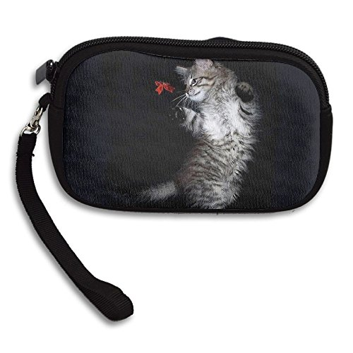 Womens Small Wallet Cute Black Cat Fun Zipper Card Purse Phone Case Holder Wallets With Chain Mini Coin Pouch]()