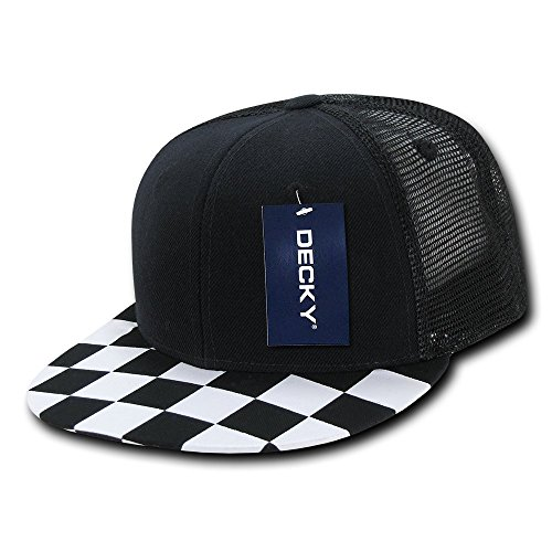 Black And White Checkered Hat (DECKY Checkered Bill Trucker,)
