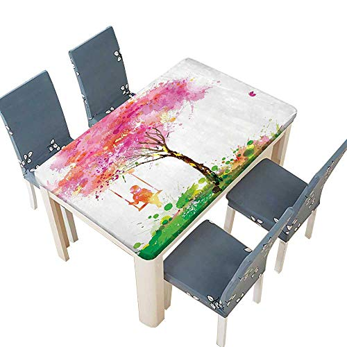 PINAFORE Indoor/Outdoor Polyester Tablecloth Spring Blossoming Tree and Dreaming Girl on Swing Chilhood Memories Artsy Wedding Restaurant Party Decoration W73 x L112 INCH (Elastic Edge)]()