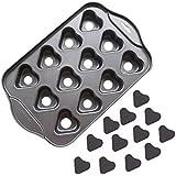 Gabkey Nonstick Small Cheesecake Pan Metallic Mini Cheesecake Pan 12 Cavity heart-shaped