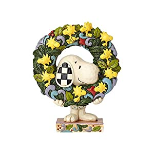 "Enesco 6000984 Peanuts by Jim Shore Snoopy with Woodstock Wreath Figurine 5.75"" Multicolor 91"