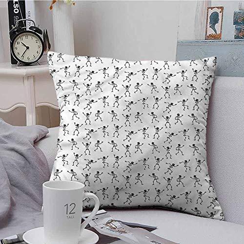 AndyTours Soft Microfiber Throw Pillowcase Set Skull Cartoon Pattern Halloween Premium,Ultra Soft,Hypoallergenic,Breathable 24 X 24 -