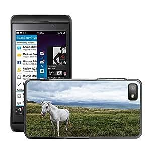 Hot Style Cell Phone PC Hard Case Cover // M00115559 Horse Animal Ocean White Mammal // BlackBerry Z10
