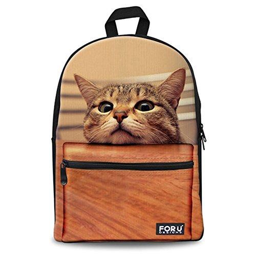 FOR U DESIGNS Funny Cute Cat Kitten Animal Back Pack Girls School Bookbags for (Teen Kitty)