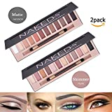 2Pack Naked Makeup Eyeshadow Palette Morphe 12 Color Natural Nude Matte Shimmer Glitter Pigment Eye Shadow Pallete Set Waterproof Natural Professional Cosmetic Makeup Kit