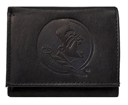 Rico Florida State Seminoles NCAA Embossed Logo Black Leather Trifold Wallet