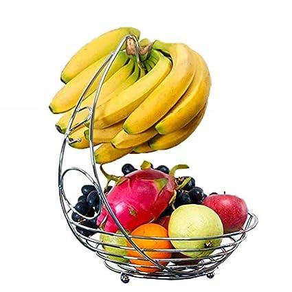 Frutero 2 en 1 (colgador y cesta, acero inoxidable con acabado cromado)