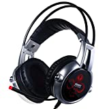 Cheap Somic VC-E95X USB Real 5.2 Surround Sound Gaming Headset Lightweight Over Ear Headphone with Mic Volume Control LED Black