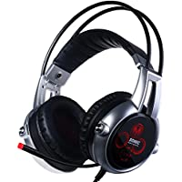 Somic VC-E95X USB Real 5.2 Surround Sound Gaming Headset Lightweight Over Ear Headphone with Mic Volume Control LED Black