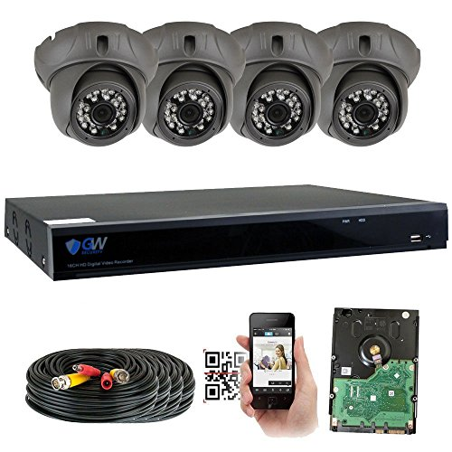 GW 8 Channel HD 5.0MP (2592TVL) H.265 Outdoor/Indoor Security Camera System with 4 x 5MP HD 1920P CCTV Camera, Pre-Installed 2TB Hard Drive, High Resolution Long Transmit Range (Dome ()