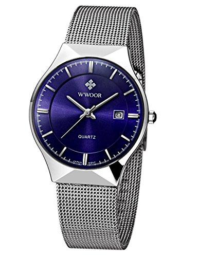 Day Date Quartz Watch (WWOOR Men's Analog Quartz Watch Ultra Thin Dial Date Stainless Steel Mesh Belt Waterproof (Blue))