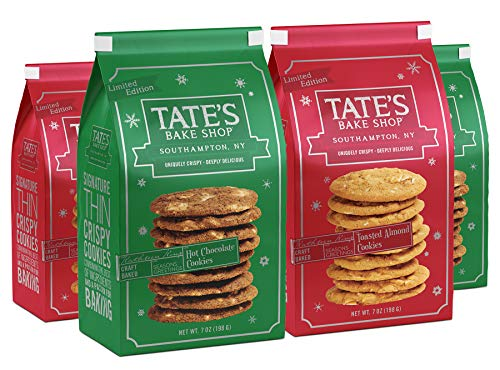 Tate's Bake Shop Limited Edition Holiday Cookies, Variety Pack, 7 Oz, 4Count (2 Hot Chocolate, 2 Toasted Almond)