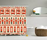 Ambesonne London Decor Collection, Stylish Drawing of Classic Local Attributes Big Ben Bus Queen's Guard and Flags Image, Polyester Fabric Bathroom Shower Curtain, 75 Inches Long, Orange White