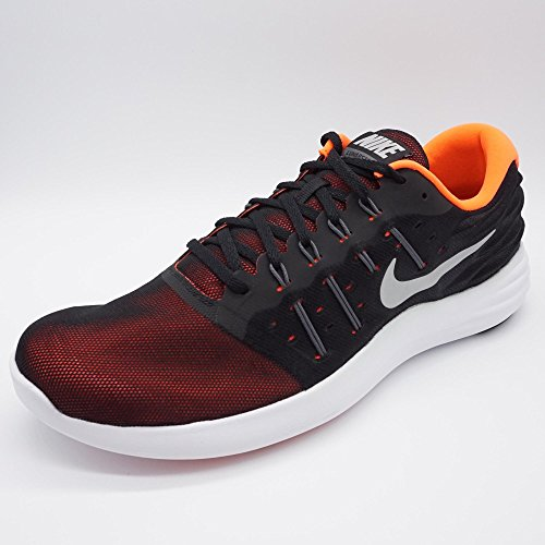Nike Mens Lunarstelos Nylon Scarpe Da Corsa Nero / Grigio Scuro / Iper Arancio / Argento Metallizzato