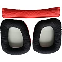 Tinksky 1pcs Logitech G430 G930 Ear Pads Soft Foam Earpads Ear Cushions with Head Beam Cushion (Red+Black)