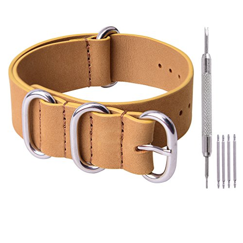 - Ritche Genuine Leather NATO strap 20mm Replacement Watch Band for Men Women