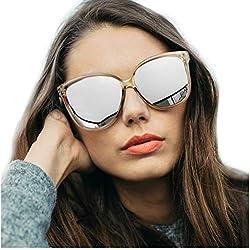 Gafas de sol polarizadas de ojo de gato para mujeres, gafas de moda vintage para la conducción de pesca - 100% de protección UV400 (Marco Marrón/Lente Pladeado)