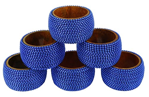 Napkin Rings Aluminum (ShalinIndia Handmade Indian Blue Aluminum Ball Chain Napkin Rings Set of 6 Wooden Napkin Holders - Industrial Chic Look - Made in India)