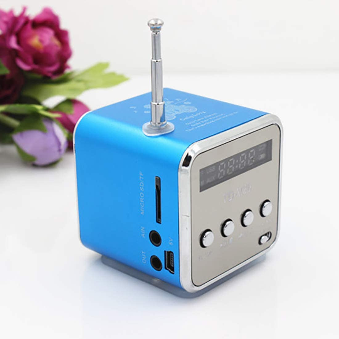 Blue Fm Radio Usb Mini Consumer Electronics Computers Super Bass Speaker Mini Speaker Home Audio Video Portable Speaker Tech /& Gadgets for Mobile Phone Music