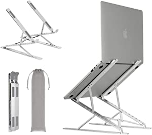 Neekor Portable Laptop Stand, 6+9 Multi-Angle Adjustable Aluminium Alloy Laptop Riser, Ergonomic Ventilated Desktop Holder Compatible with All Laptops and Ipad (Silver)