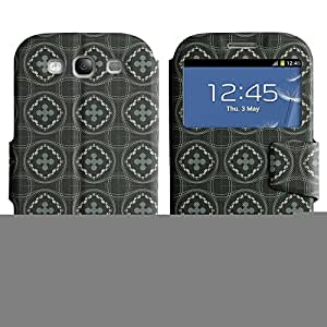 FlareStar Colour Printing cool circles Voltear PU Funda de cuero caso para SAMSUNG Galaxy S3 III / i9300 / i747 III / i9300 / i747