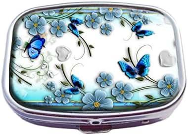Guojew Beautiful Floral Pattern Blue Butterfly Nature Life Custom Fashion Square Pill Box Tablet Holder Pocket Purse Organizer Case Decoration Box
