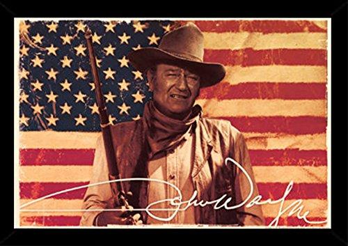 John Wayne Flag Poster in a Black Wood Frame  24618-PSA00972