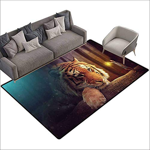 "Anti-Slip Coffee Table Floor Mats Jungle,Young Woman with Lamp Facing Giant Tiger on Big Tree Branch Fantastic Magical,Orange Blue Brown 60""x 96"",Silky Smooth Bedroom Mats"