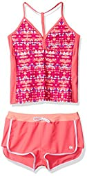 Free Country Big Girls\' Dye T-Back Tankini Adj Strap and Boy Short Bottom, Calypso Coral, 14