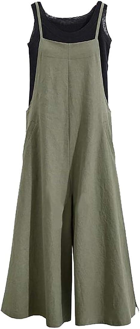 ouxiuli Womens Fashion Plus Size Baggy Wide Leg Loose Overall Linen Harem Pants
