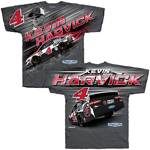 Nascar Mens Total Print Driver T Shirt Kevin Harvick  4 Jimmy Johns Gray Medium