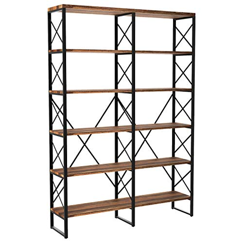 IRONCK Bookshelf, Double Wide 6-Tier Open Bookcase Vintage Industrial Large Shelves, Wood and Metal Etagere Bookshelves, for Home Decor Display, Office Furniture (Thin Bookshelves)