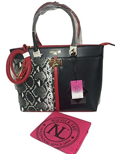 nicole-lee-black-and-red-snakeskin-womens-double-and-adjustable-shoulder-strap-pocketbook-tote-dust-