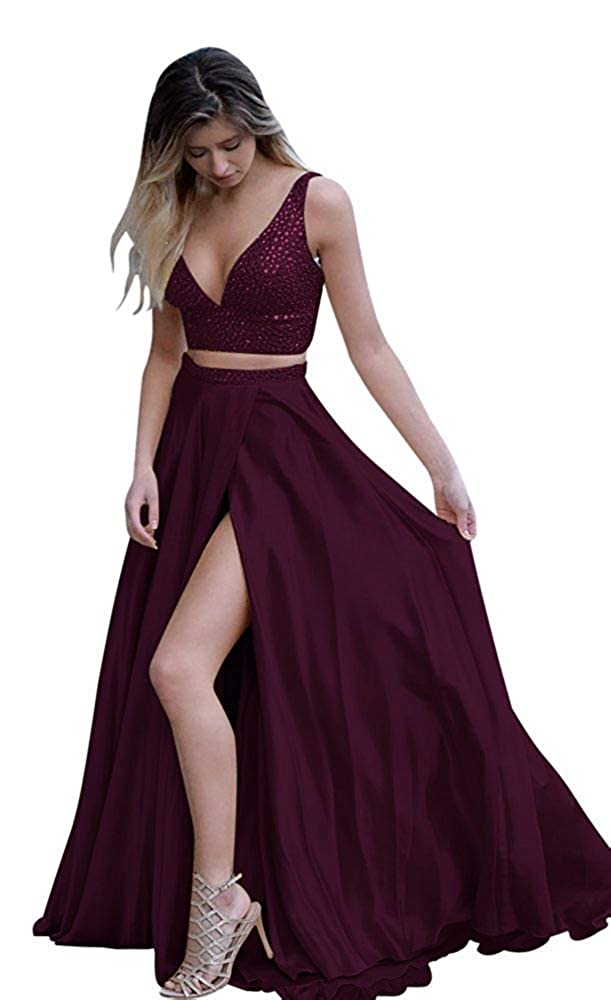 Dark Burgundy Fanciest Women's Two Pieces Beaded Prom Dresses Long Slit Formal Evening Party Dress